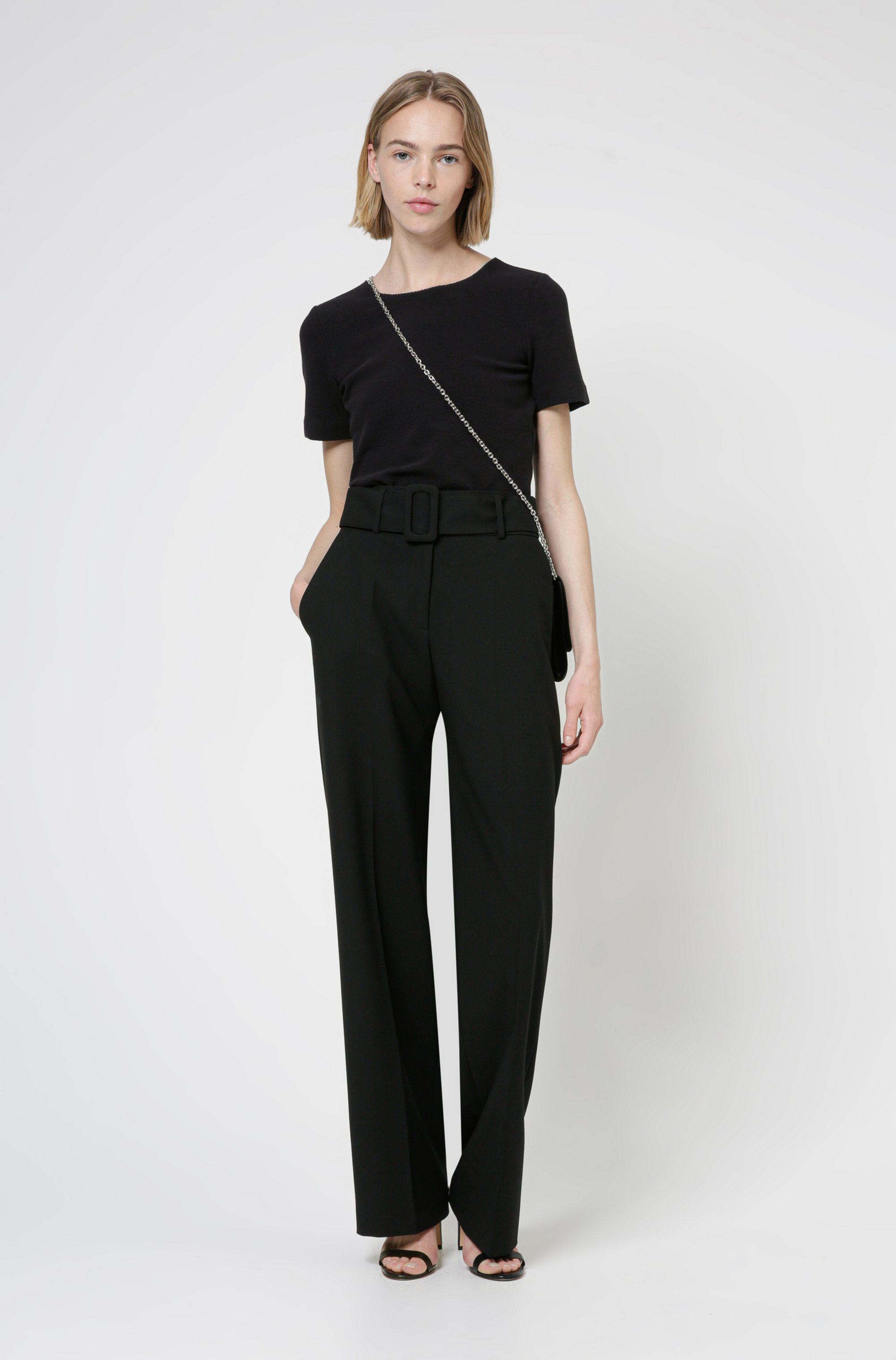 Scoop-neck T-shirt in stretch jersey with metallic trim