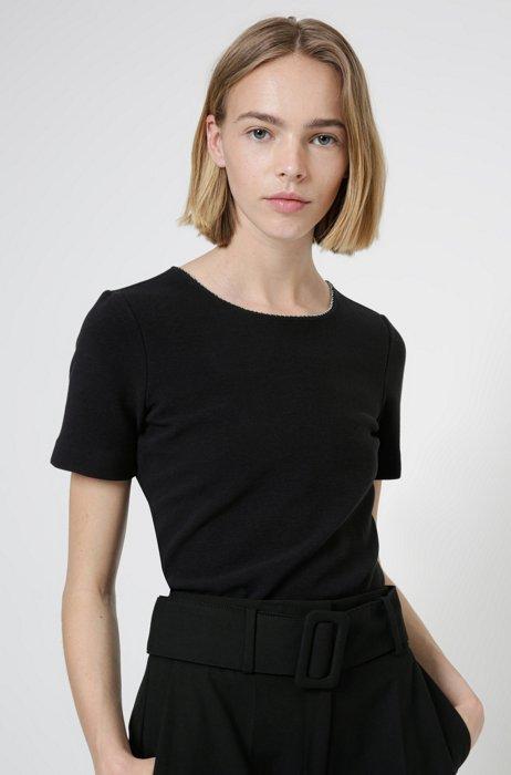 Scoop-neck T-shirt in stretch jersey with metallic trim, Black