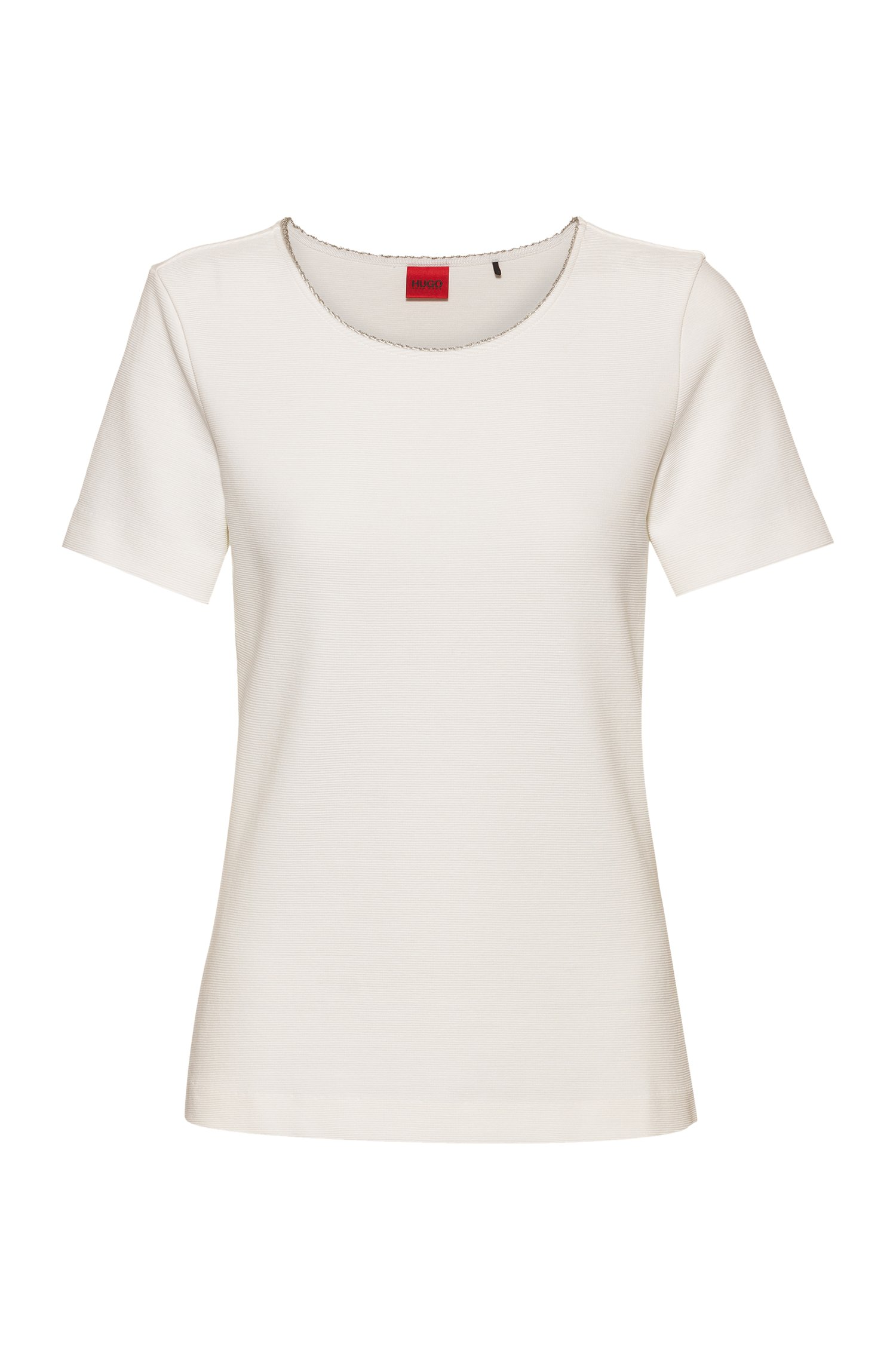 Scoop-neck T-shirt in stretch jersey with metallic trim, White