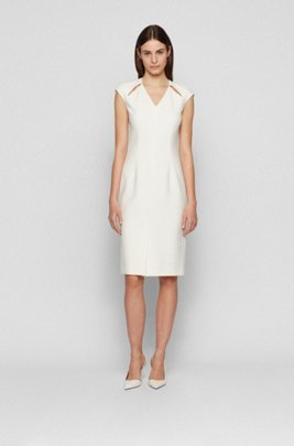 V-neck shift dress with cut-out details, White