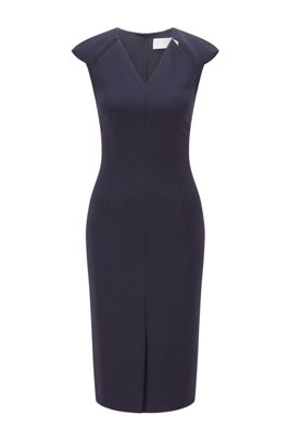 V-neck shift dress with cut-out details, Dark Blue