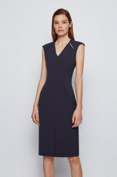 V-neck shift dress with cut-out details, Dark Blue
