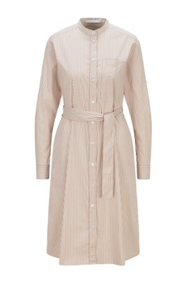 Striped tunic-style dress in cotton-blend fabric, Beige