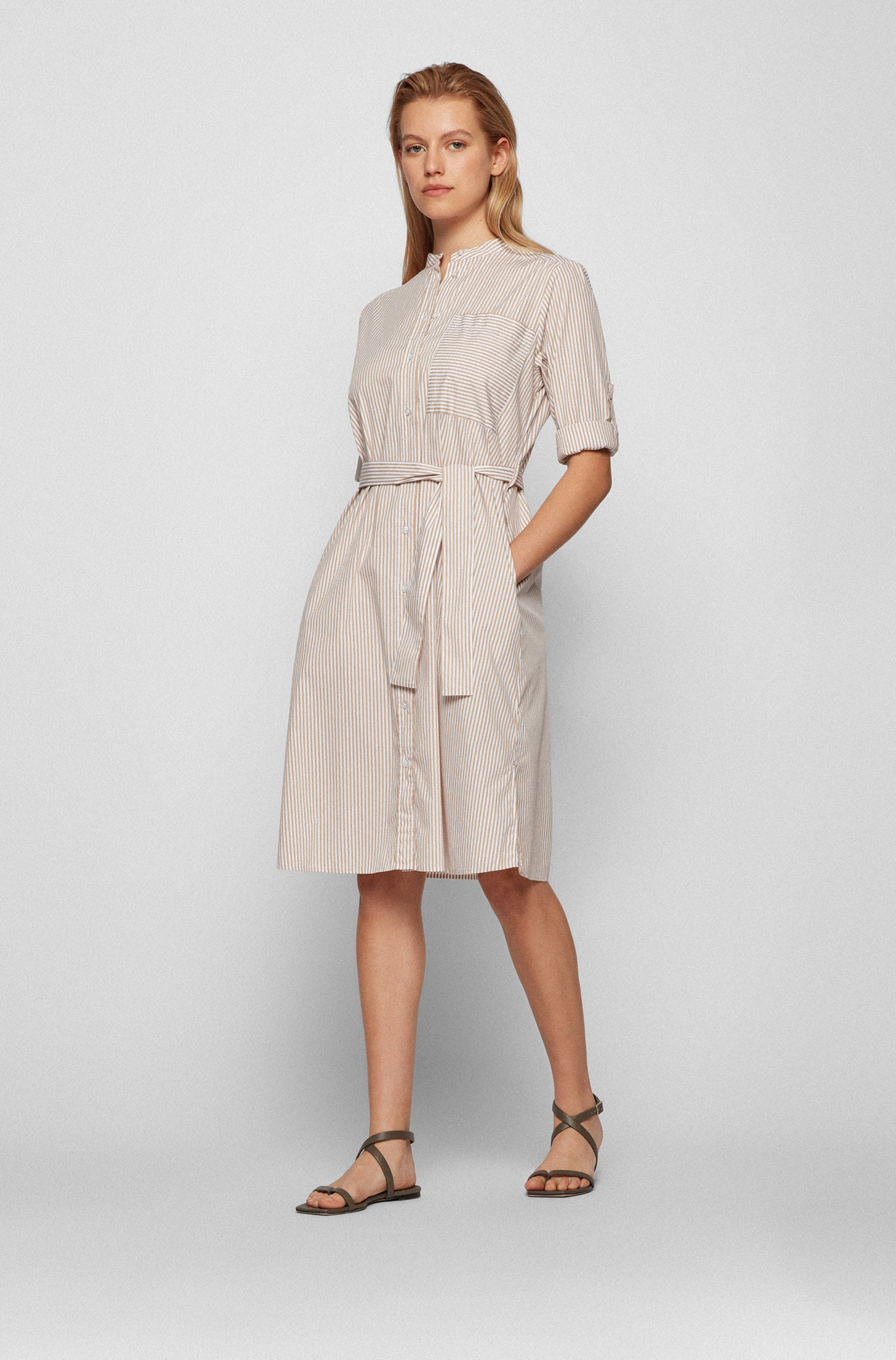 Striped tunic-style dress in cotton-blend fabric