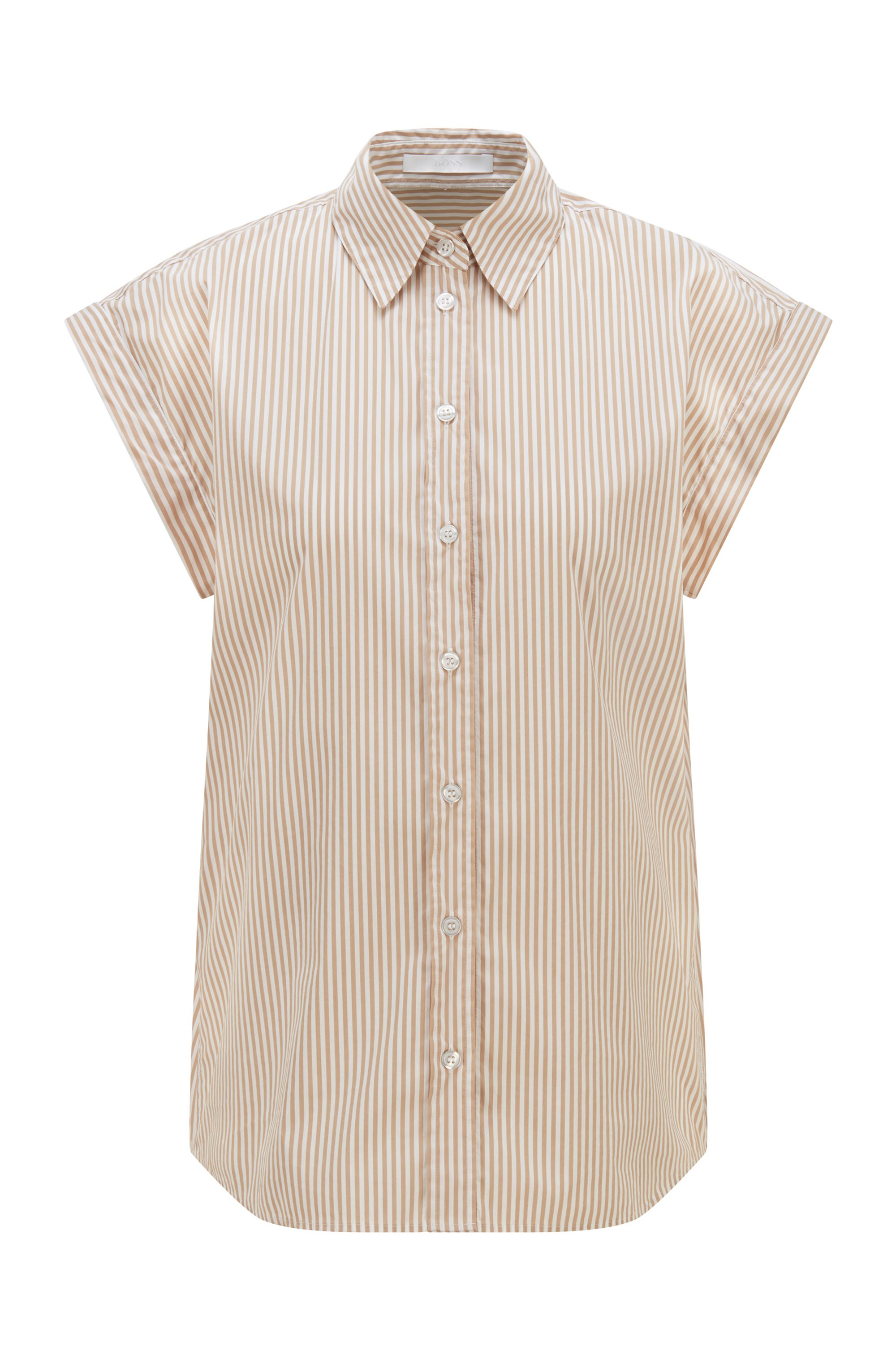Relaxed-fit striped blouse in a stretch-cotton blend, Beige