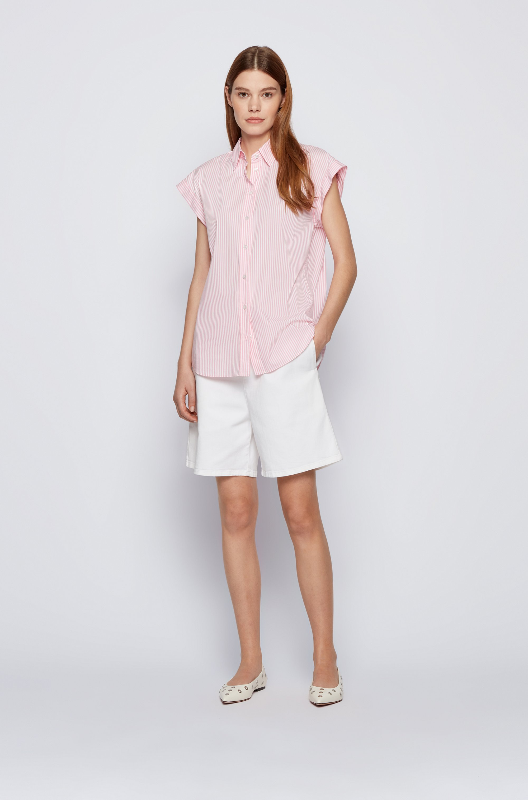 Relaxed-fit striped blouse in a stretch-cotton blend