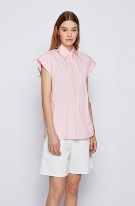 Relaxed-fit striped blouse in a stretch-cotton blend, Pink