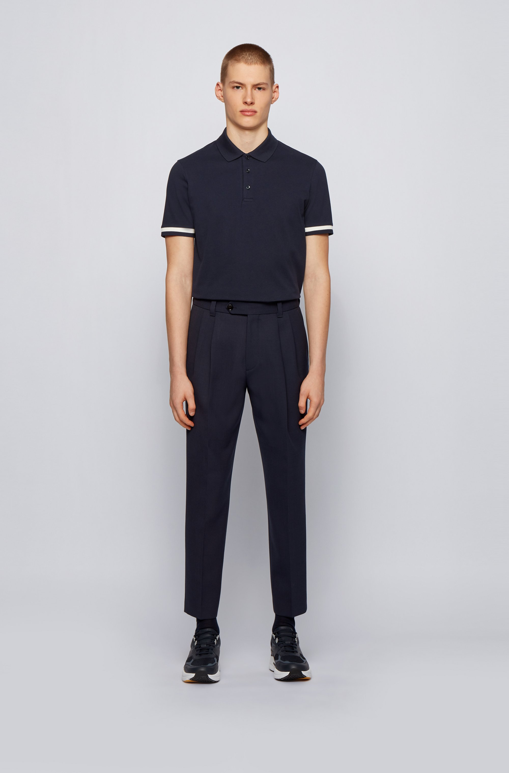 Polo shirt in double-mercerised stretch-cotton piqué