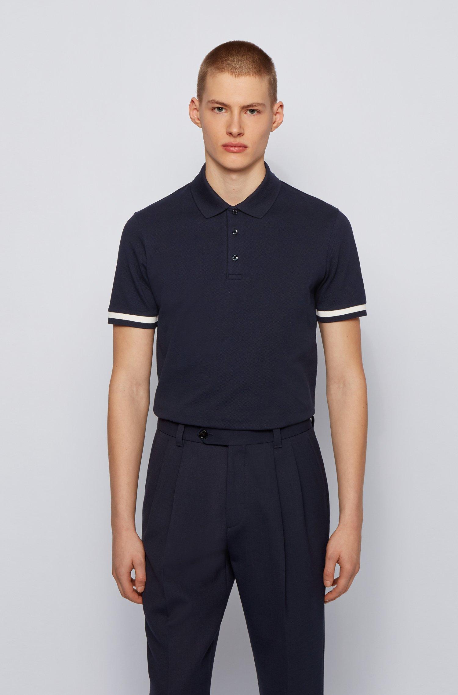 Polo shirt in double-mercerised stretch-cotton piqué, Dark Blue