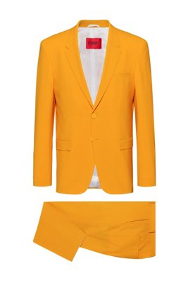 Slim-fit suit in a structured virgin-wool blend, Orange