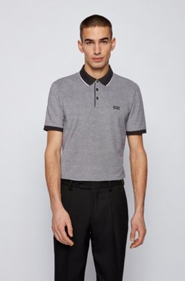 Polo shirt in Pima cotton with contrast details, Grey