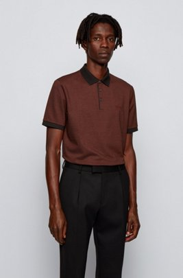 Polo shirt in Pima cotton with contrast details, Brown