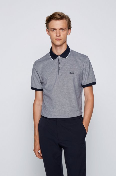 Polo shirt in Pima cotton with contrast details, Dark Blue