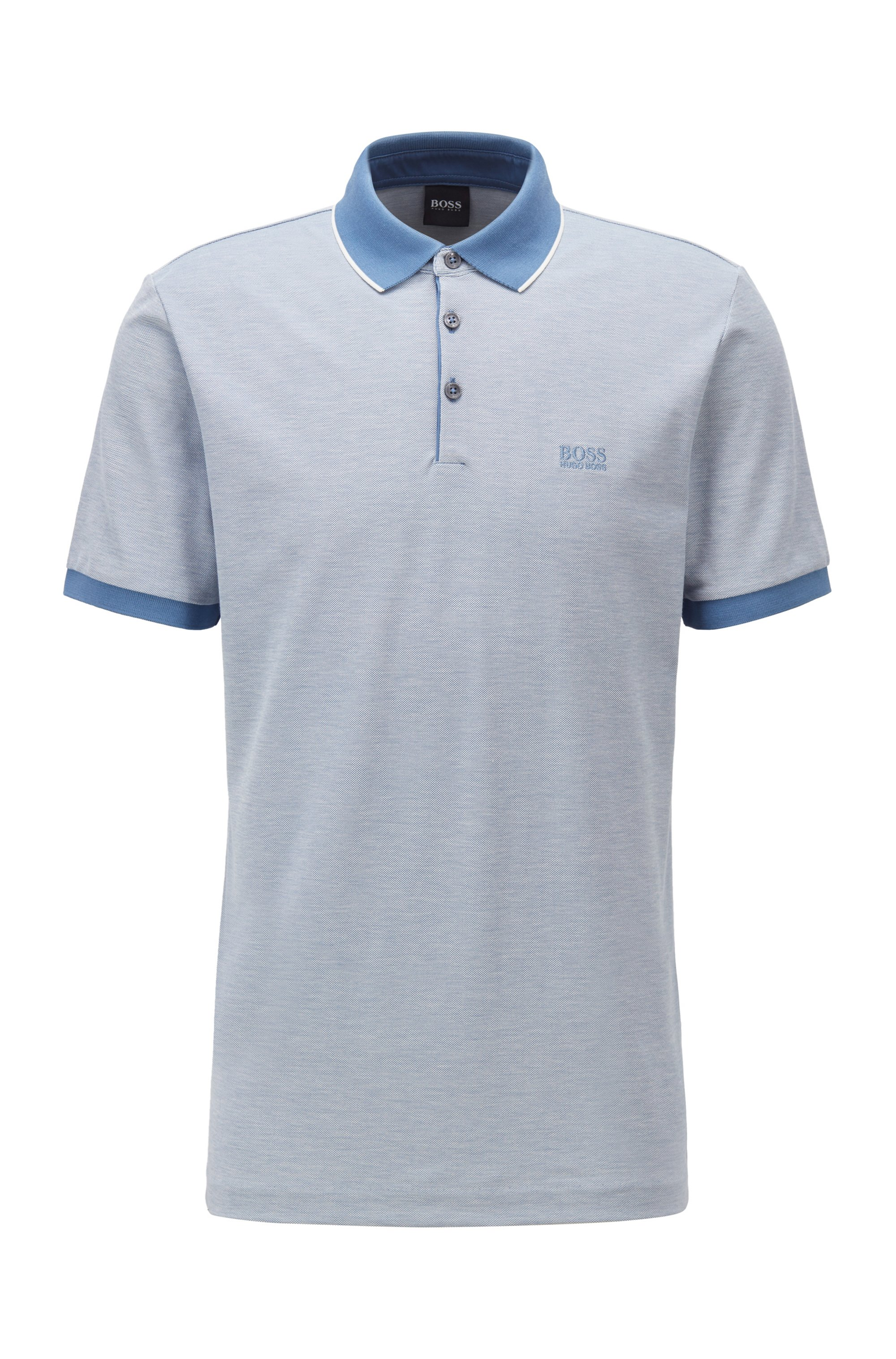 Polo shirt in Pima cotton with contrast details, Light Blue