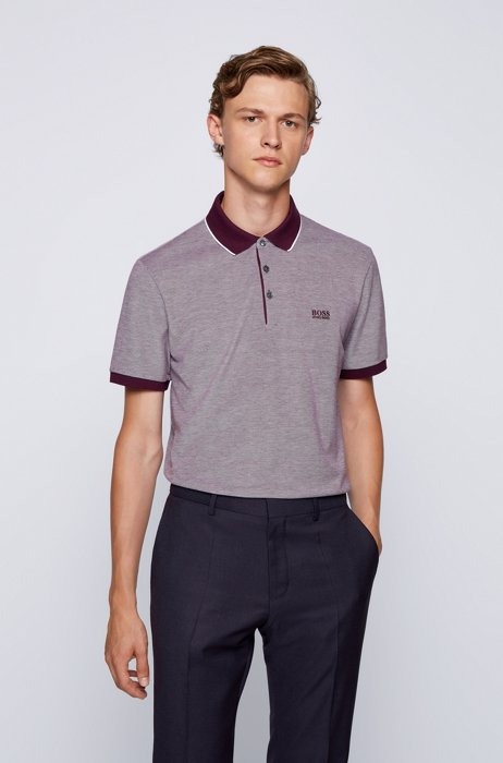 Polo shirt in Pima cotton with contrast details, Purple