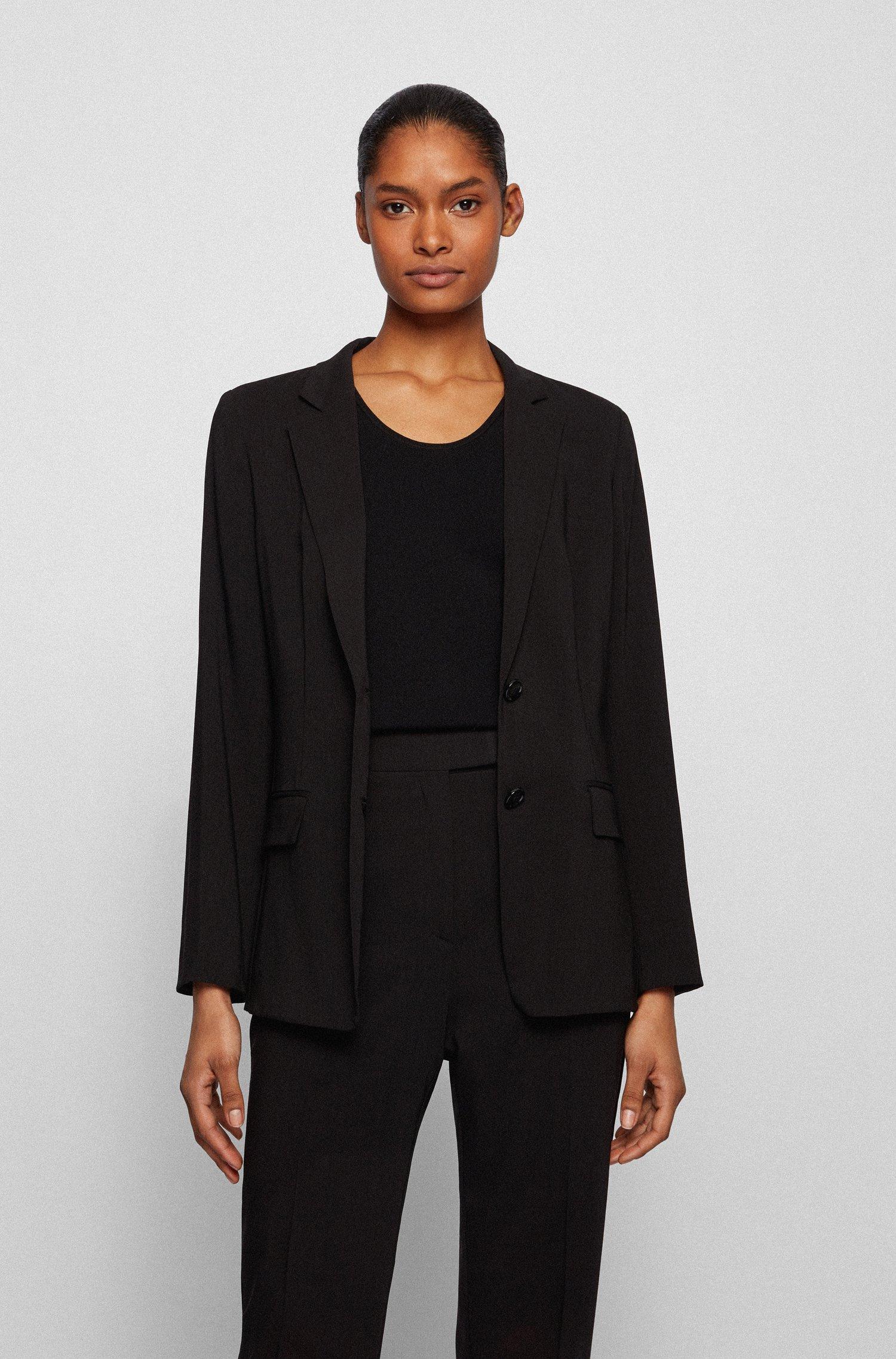 Regular-fit jacket in virgin wool, Black