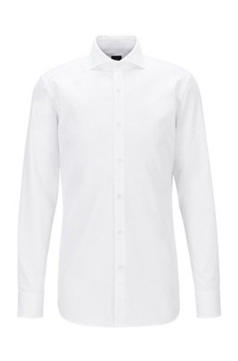 Slim-fit shirt in crease-resistant dobby cotton, White
