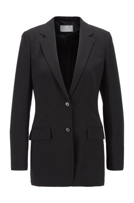 Regular-fit long-length jacket in stretch fabric, Black