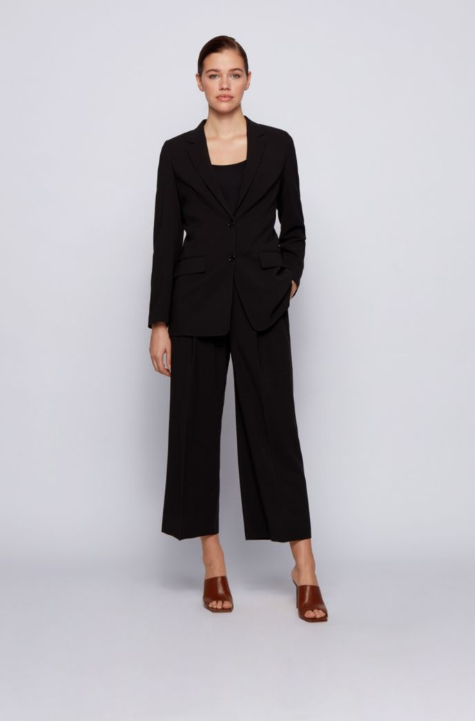 Regular-fit long-length jacket in stretch fabric