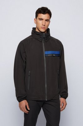 Packable regular-fit blouson jacket in shape-memory twill, Black