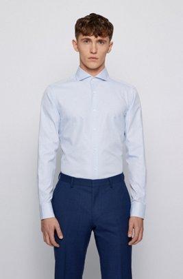 Strukturiertes Slim-Fit Hemd aus knitterfreier Baumwolle, Hellblau