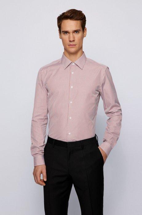 Gestreiftes Slim-Fit Hemd aus Baumwoll-Popeline, Hellbraun