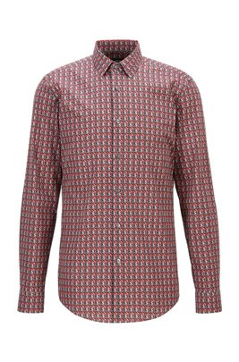 Slim-Fit Hemd aus italienischer Baumwolle mit Logo-Print, Rot gemustert