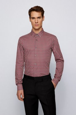 Slim-fit shirt in Italian cotton with logo print, Red Patterned