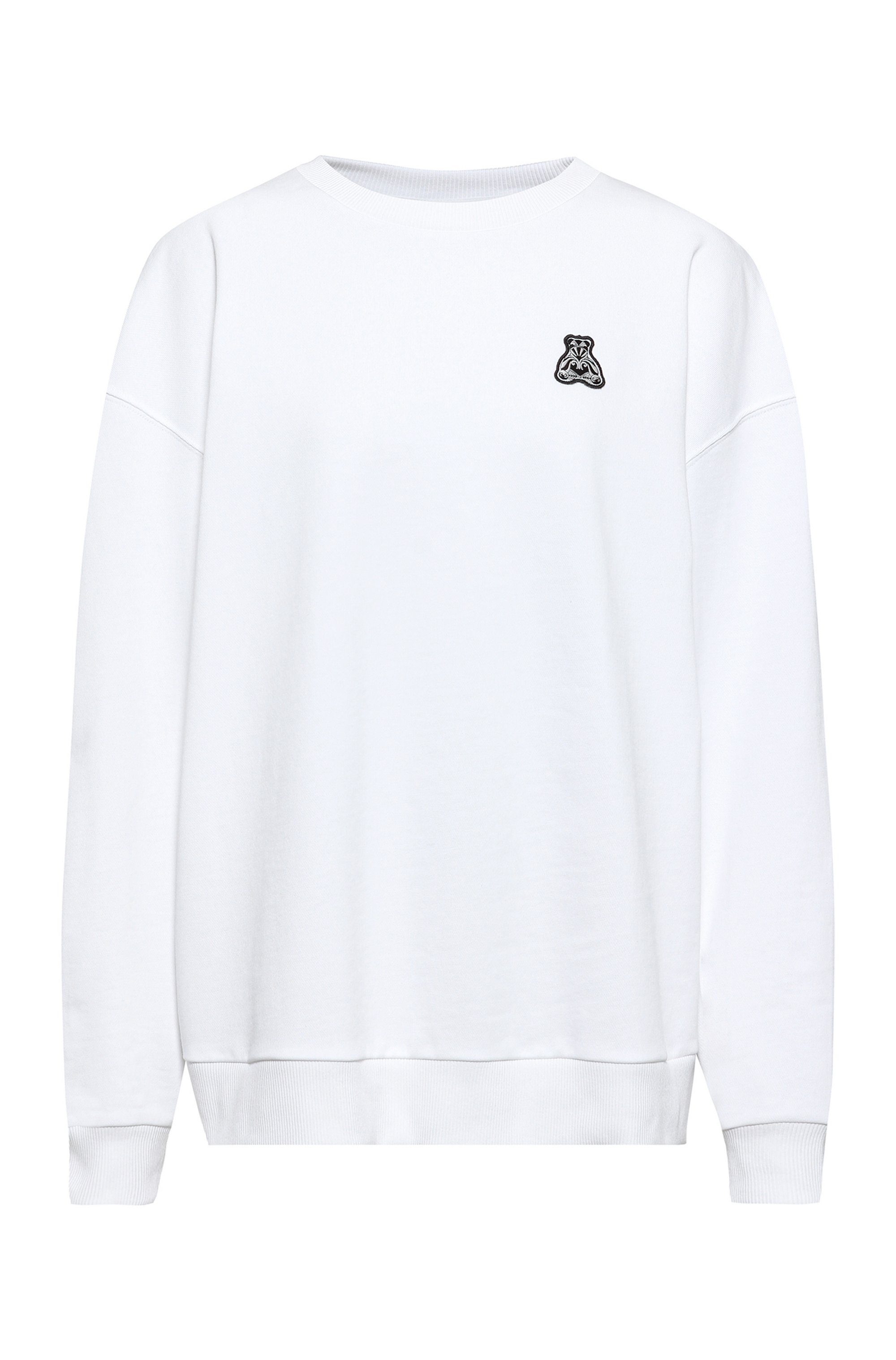 Relaxed-fit sweatshirt in Recot²® cotton with bear artwork, White