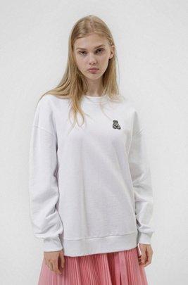 Relaxed-fit sweater van recot²® katoen met berenartwork, Wit