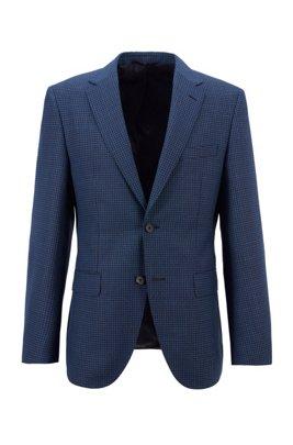 Chaqueta regular fit en lana virgen con diseño de pata de gallo, Azul