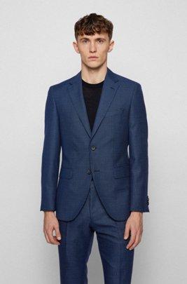 Regular-fit jacket in houndstooth virgin wool, Blue
