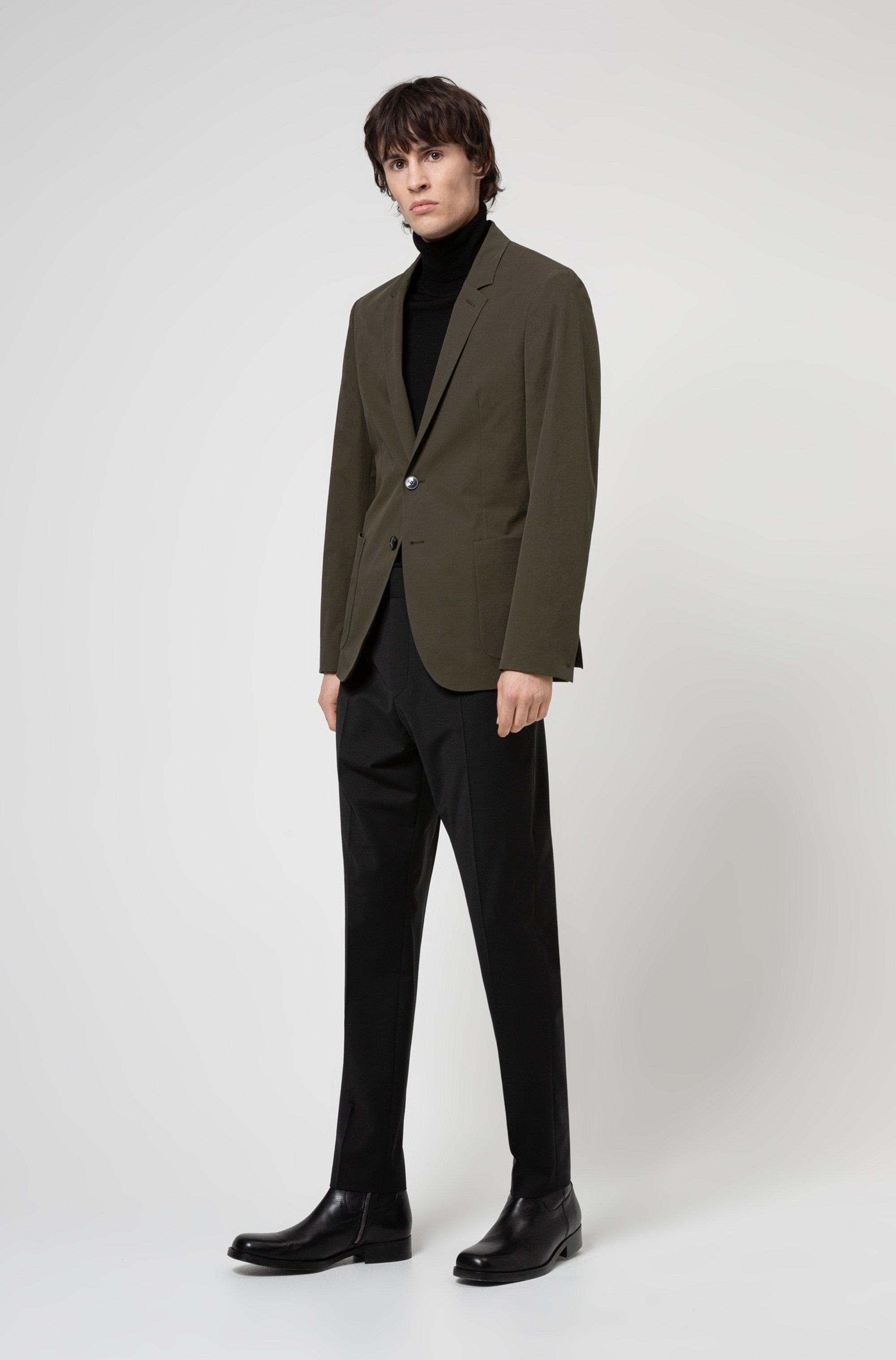 Extra-slim-fit jacket in performance stretch cotton