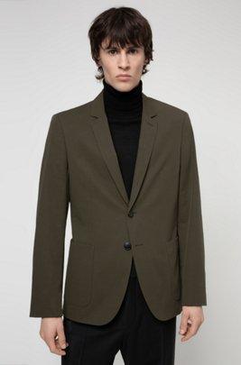 Extra-slim-fit jacket in performance stretch cotton, Dark Green