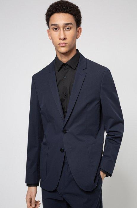 Extra-slim-fit jacket in performance stretch cotton, Dark Blue