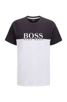 Loungewear T-shirt in a double-knit cotton blend, Black