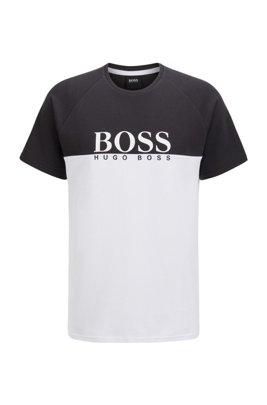 Loungewear-T-Shirt aus doppelt gestricktem Baumwoll-Mix, Schwarz