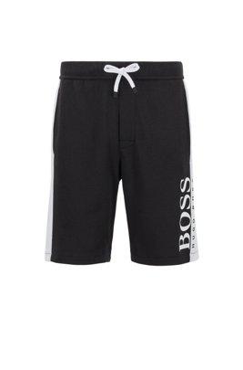 Loungewear-Shorts aus zweiseitigem Baumwoll-Mix, Schwarz