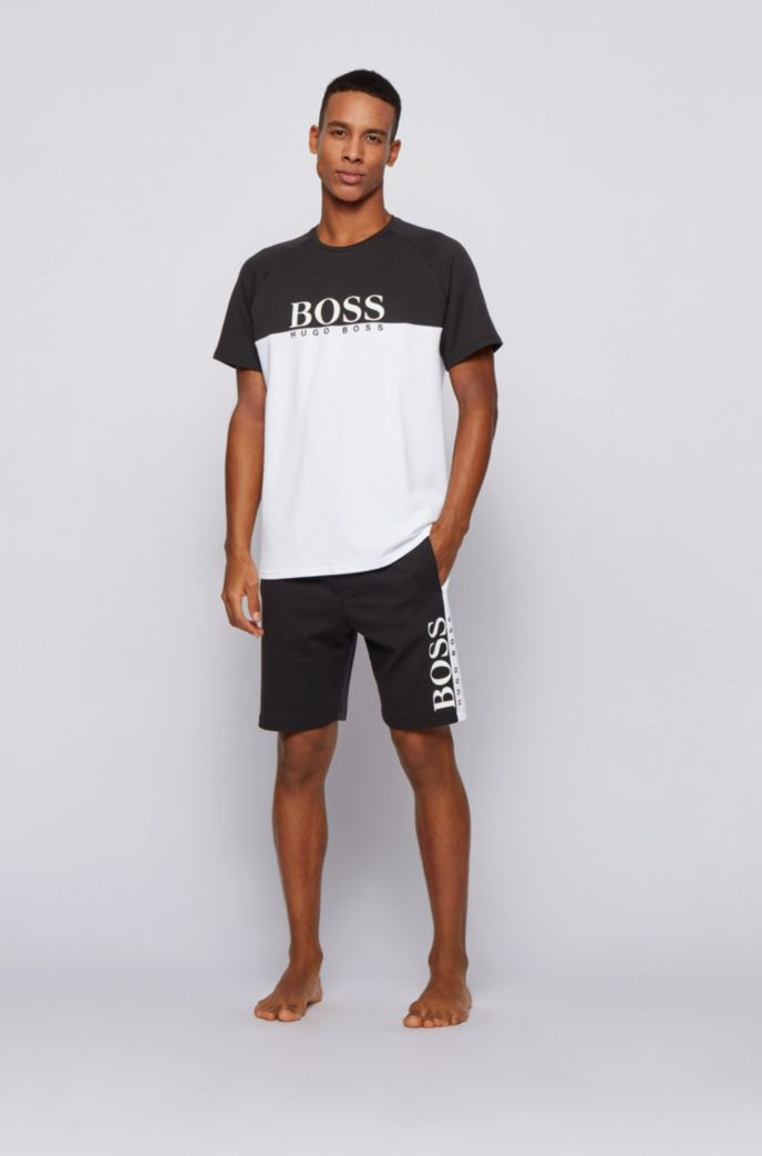 Loungewear shorts in a double-knit cotton blend