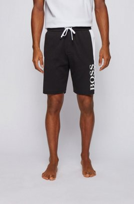 Loungewear shorts in a double-knit cotton blend, Black