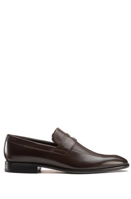 Penny loafers in smooth leather with embossed logo, Dark Brown