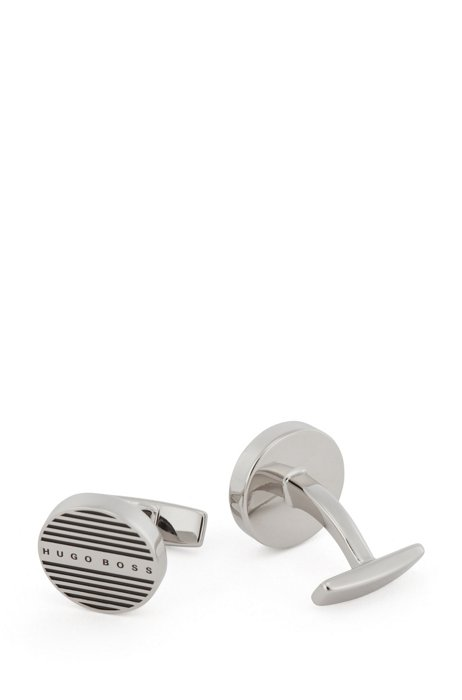 Round cufflinks with etched stripes and logo, Silver
