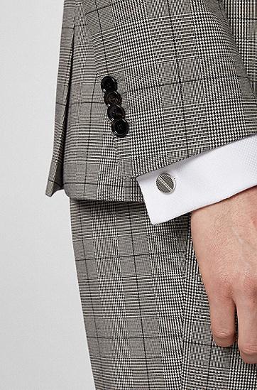 蚀刻条纹徽标圆形袖扣,  001_Black