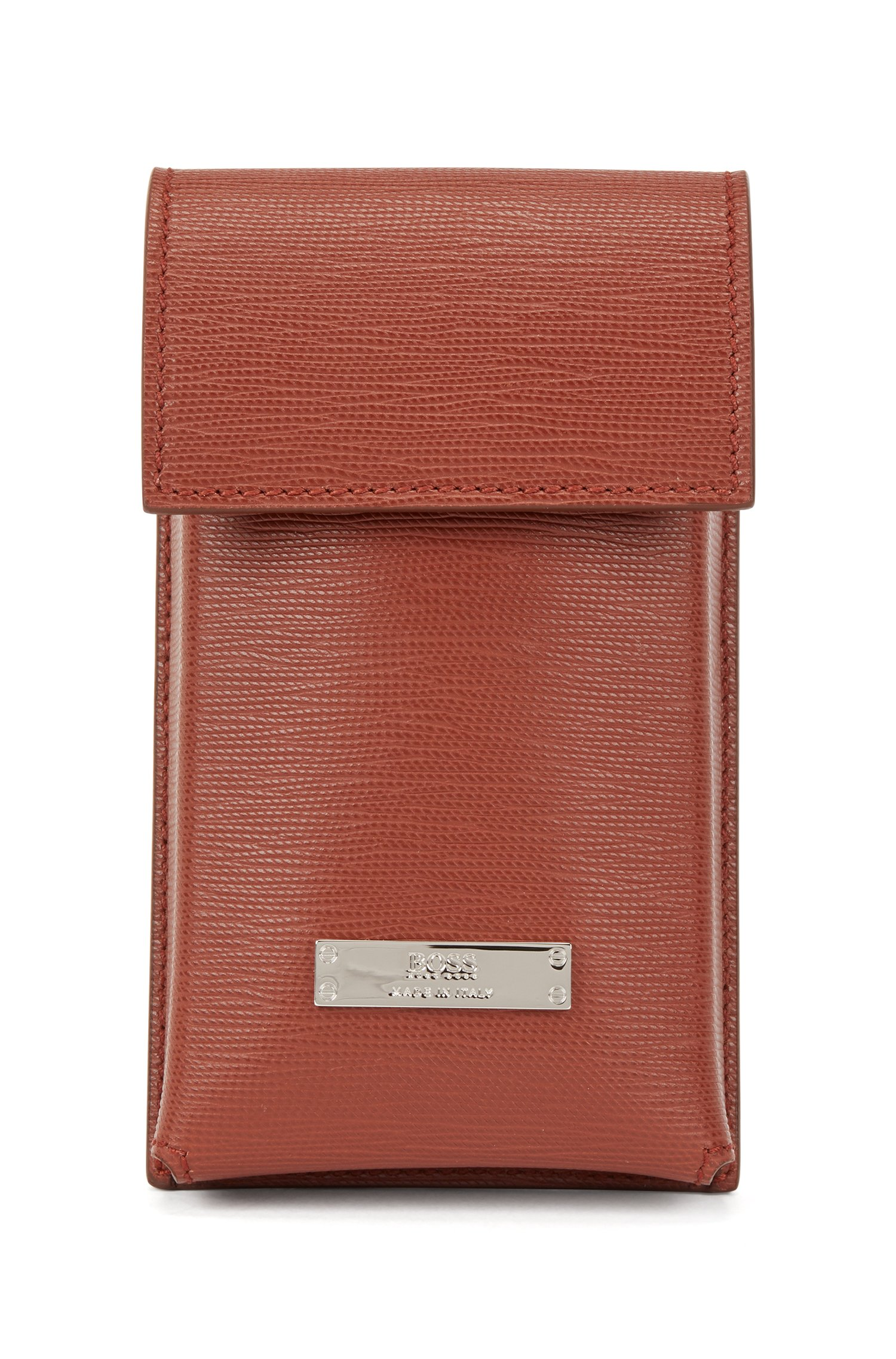 Italian-leather neck pouch with detachable strap, Brown