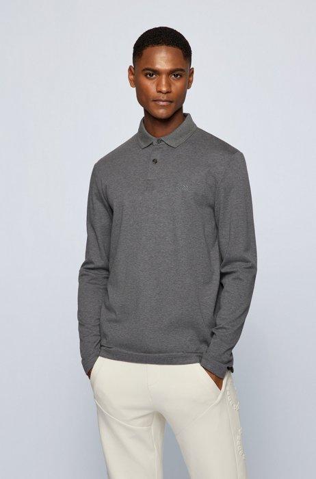 Long-sleeved polo shirt in interlock cotton, Grey