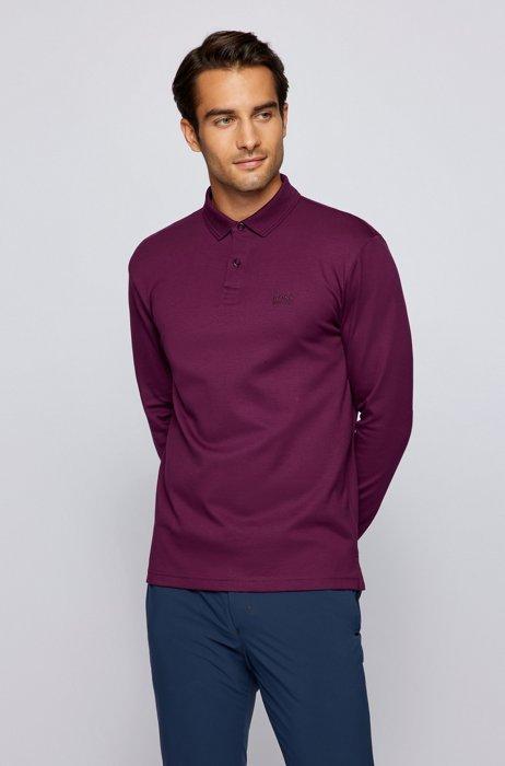 Long-sleeved polo shirt in interlock cotton, Purple