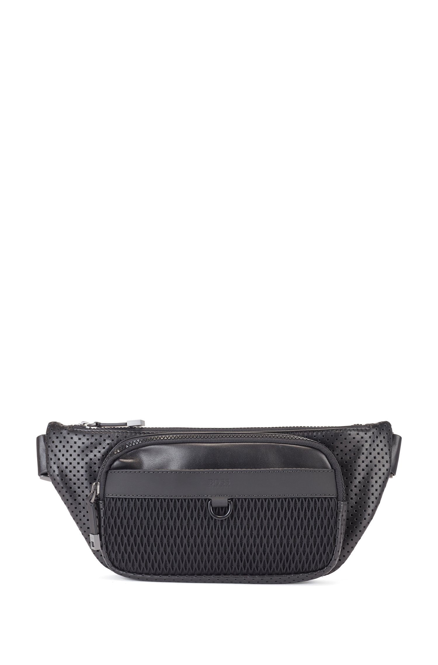 Belt bag in smooth and perforated Italian leather, Black