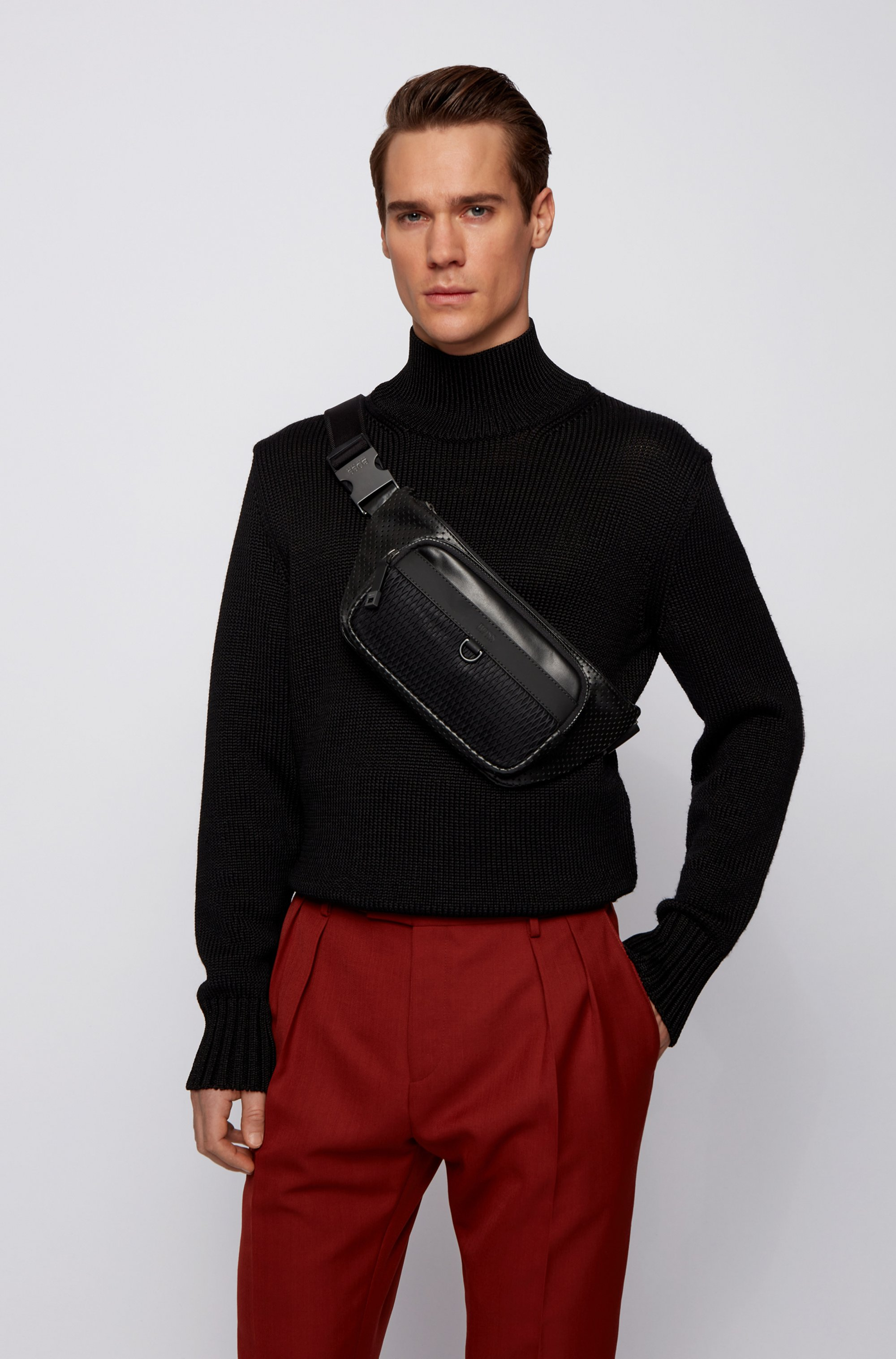 Belt bag in smooth and perforated Italian leather