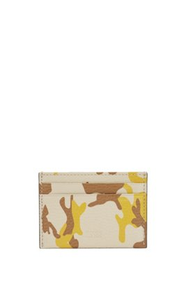 Camouflage-print card holder in Italian leather, Patterned