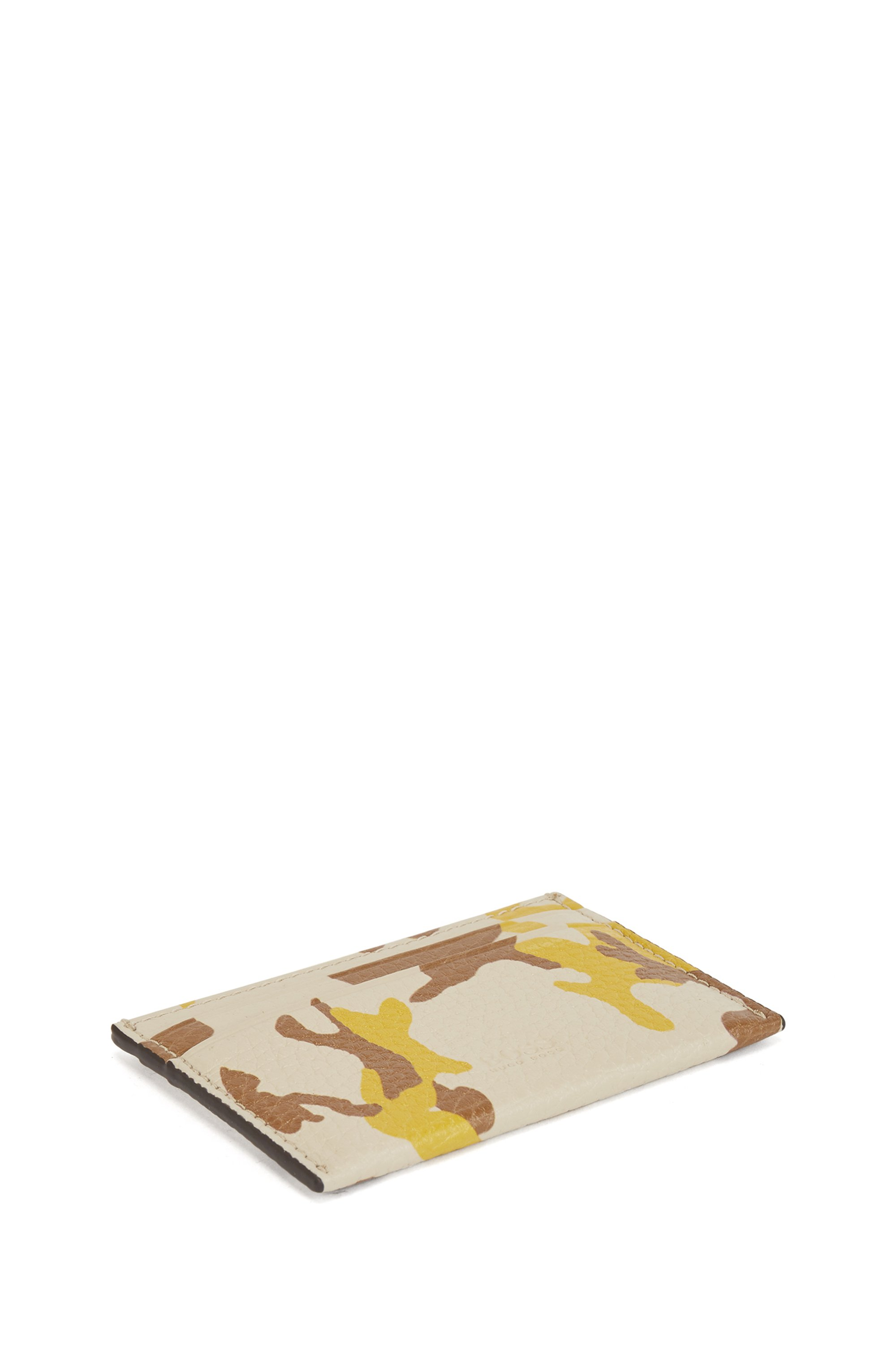 Camouflage-print card holder in Italian leather